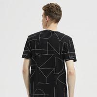 海一家 HNTBJ2E026A 男士抽象几何短袖T恤