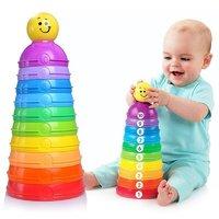 Fisher Price费雪-层叠彩虹杯 男孩女孩玩具 Stack & Roll Cups K7166