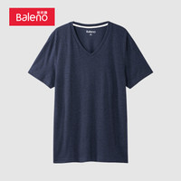 班尼路(Baleno)男士短袖t恤棉质V领短袖