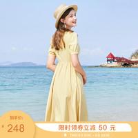 三彩2020夏季新款方领桔梗法式雪纺泡泡袖短袖复古公主裙连衣裙女