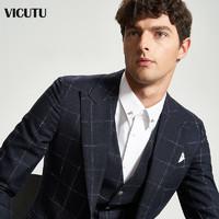 VICUTU/威可多商场同款男士套装西服上衣格纹羊毛西装修身西服
