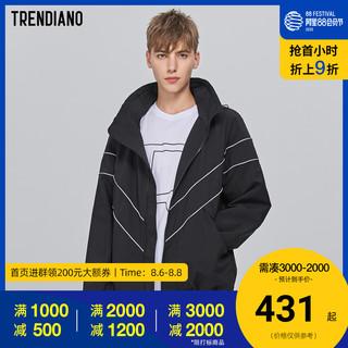 TRENDIANO潮牌秋季男装个性条纹拉链开衫连帽风衣外套 *3件