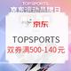 必看活动:京东  TOPSPORTS 运动品牌日 马上登场! 前2小时3件85折,双券500-140/1000-290元