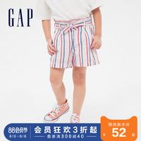 Gap女童亚麻舒适童装短裤夏季540063 2020新款甜美荷叶边儿童裤子