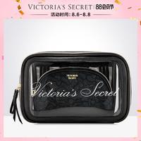维多利亚的秘密黑色蕾丝化妆包3件套透明便携收纳洗漱