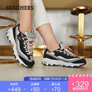 Skechers斯凯奇女鞋厚底增高老爹鞋 复古拼接撞色熊猫鞋13143 黑色/灰色/BKGY 37