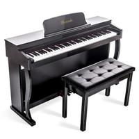 电钢琴 指定考级推拉盖 力度键-木纹黑(双人凳+大礼包)
