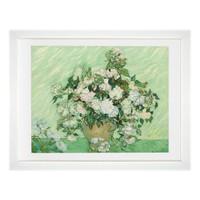 买买艺术 梵高《粉红色的玫瑰》艺术版画抽象装饰画玄关卧室餐厅客厅白色画框 画框尺寸45×35cm *3件