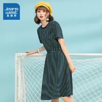 真维斯连衣裙女夏2020新款女士时尚圆领条纹收腰显瘦针织连衣裙