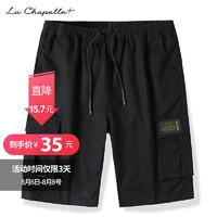 (35抢100)La Chapelle+男士纯棉短裤夏季薄款宽松迷彩沙滩五分裤