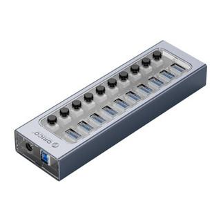 ORICO 奥睿科 USB分线器3.0扩展多口带电源分控HUB群控批量测试拷贝透明铝合金工业集线器 10口-12V4A