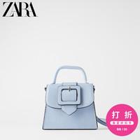 ZARA新款 女包 蓝色动物纹印花搭扣多用斜挎包 15632510009