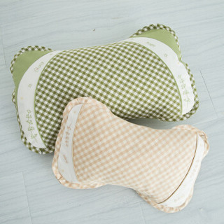 良良 婴儿枕头定型新生儿水洗透气儿童枕 加长盒装 绿咖 *2件