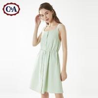C&A清新纯棉吊带单排扣抽绳连衣裙女士2020新夏季CA200229523-NL