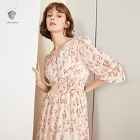 范思蓝恩 新款连衣裙夏雪纺碎花裙子韩版很仙的法国小众桔梗裙 杏粉色 XL