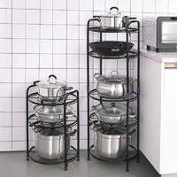 放锅架子厨房置物架用品锅具收纳架锅架多层落地三角转角台面家用