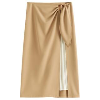 范思蓝恩不规则半身裙2020夏季新款气质百褶裙女中长款高腰a字裙