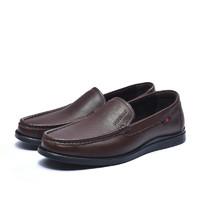 富贵鸟(FUGUINIAO) 男士商务休闲皮鞋低帮套脚英伦潮A894612 暗棕 43