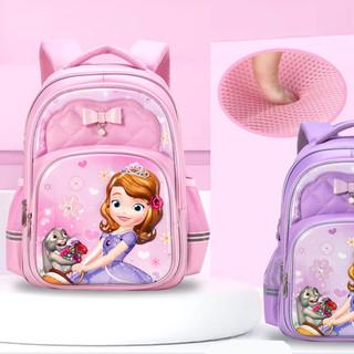 迪士尼小学生书包一二三年级减负护脊女孩女童苏菲亚公主卡通可爱双肩包防水大容量多层女生新款多功能学生包