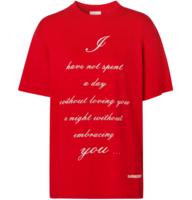 BURBERRY 博柏利 七夕限定款中性爱情标语棉质圆领短袖T恤 亮红色S