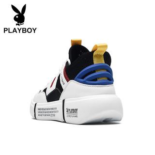 花花公子(PLAYBOY)潮流拼色运动跑步网布休闲板鞋子男低帮舒适防滑 PL611053-1 白/黄-1 42