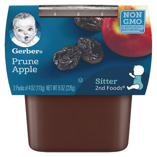 Gerber 嘉宝 婴幼儿辅食苹果西梅泥 二段 113g*2盒/组 *15件