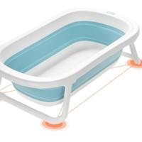 kub 可优比  婴儿折叠浴盆大号厚 浴盆+浴网洛克蓝