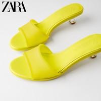 ZARA 13307510090 TRF 女士黄色弹力高跟凉鞋