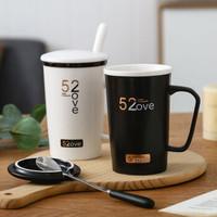 七夕送男女友家用喝水情侣杯子一对情侣款陶瓷杯创意办公室带盖勺ins简约 黑色单杯