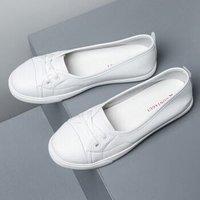 法國Montagut夢特嬌  真皮小白鞋女2020洋氣新款平底一腳蹬百搭韓版淺口女單鞋 白色-法國正品 36 *3件