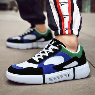 花花公子(PLAYBOY)男士韩版潮流时尚百搭拼色运动休闲鞋  CX39513 蓝绿 40