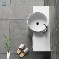 汉派人造石立柱盆一体落地式带台面洗手盆方形阳台家用立式浴室柜