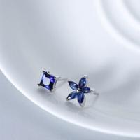 alivinee 阿莉维妮 s925银蓝钻方形五瓣花不对称耳钉(配银耳塞)