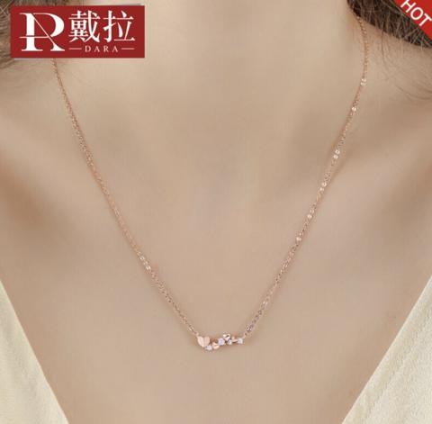 dara 戴拉 Y760 女士爱心银项链