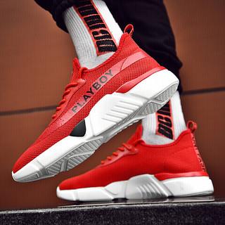 花花公子(PLAYBOY)男士韩版潮流飞织户外跑步运动休闲鞋子 CX39552 红色 44