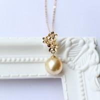 PearlYuumi 南洋珍珠9-10mm K18钻石小金花吊坠