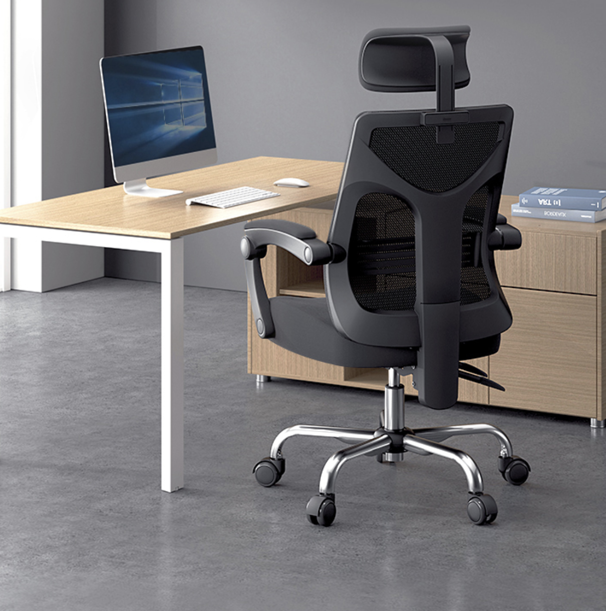 Hbada 黑白调 164BM 人体工学电脑椅 黑色