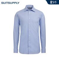 Suitsupply-Traveller中蓝色细条纹经典领免烫商务男士衬衫