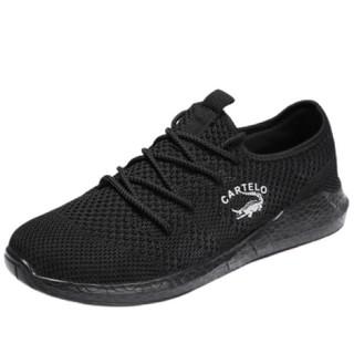 CARTELO 卡帝乐鳄鱼 KDL8A8205 男士飞织板鞋 黑色 44