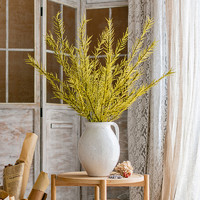 掬涵 仿真亞麻草大型植物裝飾干花長枝綠植擺件插花客廳櫥窗擺設