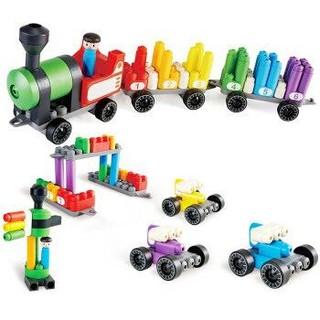 Hape 柔性积木玩具 PolyM系列 彩虹火车套 760022 (63颗粒)