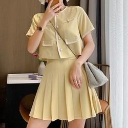 MEIER KISS 2020425-1 女士高腰百褶裙两件套