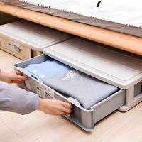 床底抽屉式收纳箱塑料特大号家用衣服透明整理箱子床下储物盒带轮