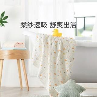 全棉时代婴儿浴巾儿童宝宝6层水洗绗缝纱布新生儿浴巾 小鸭子 95*95cm *5件