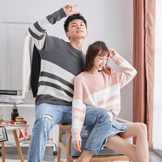 唐狮新款冬情侣毛衣男女圆领韩版学生毛衫宽松拼接针织衫毛线