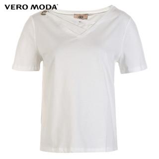 夏装V领ins潮上衣网红同款纯色宽松短袖打底黑色T恤女 318101523