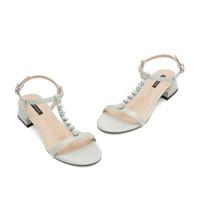DAPHNE 达芙妮 女士T字带珍珠粗跟凉鞋1020301070