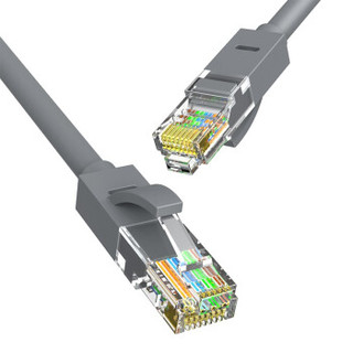 HONGDAK 六类成品网线 高速宽带线 cat6千兆 家用网络连接线 浅灰色 3M