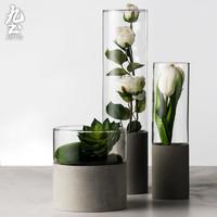 九土水泥花器玻璃花瓶直筒透明北欧客厅摆件插花水培玻璃多肉花盆