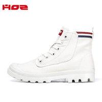 HOZ后街女高帮帆布鞋百搭小白鞋运动休闲短靴英伦风 白色 40  男款